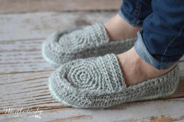 Womens Loafer Slippers Crochet Pattern Whistle And Ivy