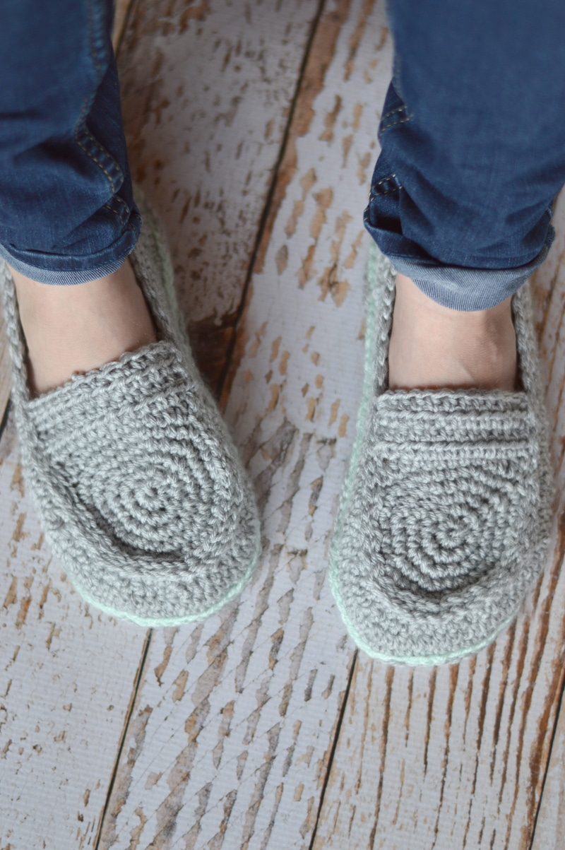 Free Crochet Pattern Loafer Slippers : Womens Loafer Slippers Crochet Pattern - Whistle and Ivy