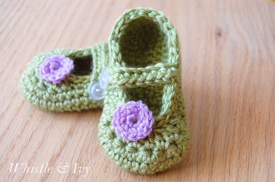 Crochet Pattern For A Baby Jacket : Little Dot Mary Janes Pattern - Whistle and Ivy