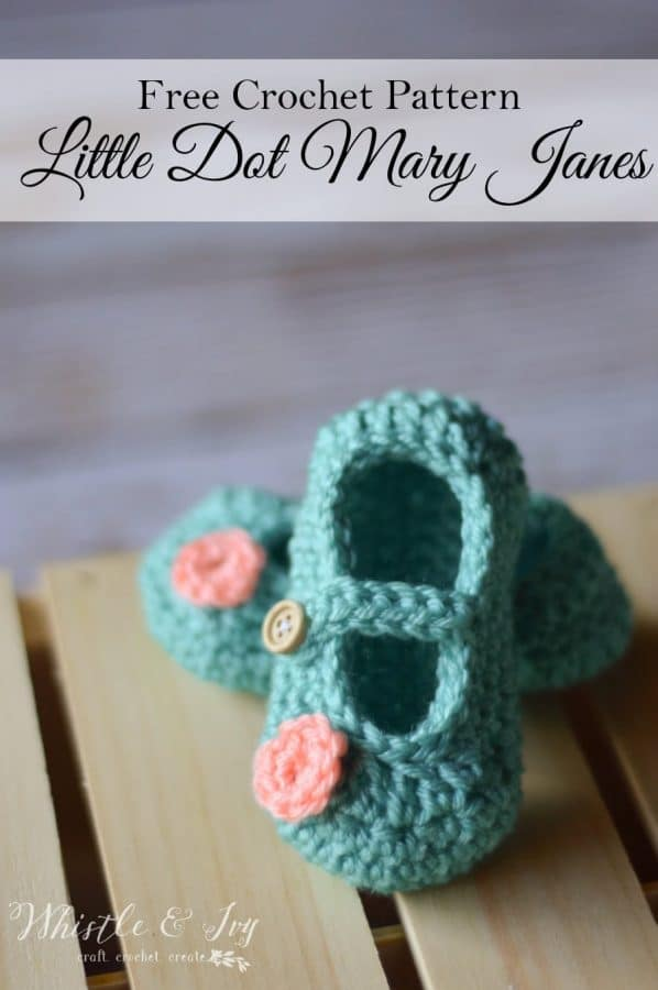 Free Crochet Pattern For Mary Jane Baby Slippers : Little Dot Mary Janes Pattern - Whistle and Ivy