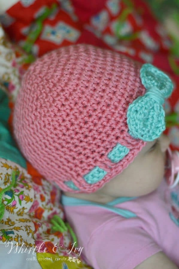 Crochet Baby Hat With Ribbon Pattern : Faux Ribbon Baby Hat - Whistle and Ivy