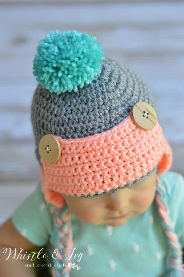 crochet button trapper hat for baby free crochet pattern