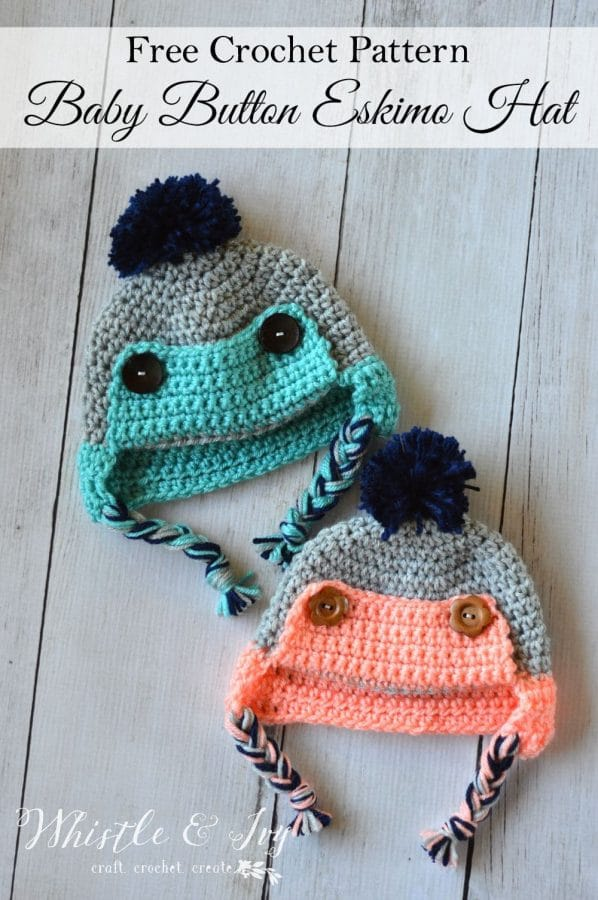 Elizabeth Crochet Hat Pattern For Child : Button Eskimo Baby Hat - Whistle and Ivy
