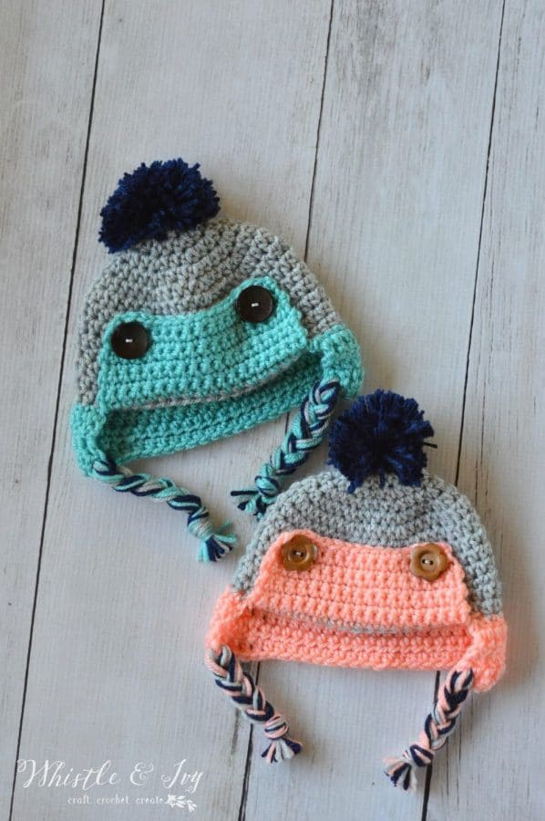 Crochet Baby Trapper Hat Free Crochet Pattern Whistle And Ivy