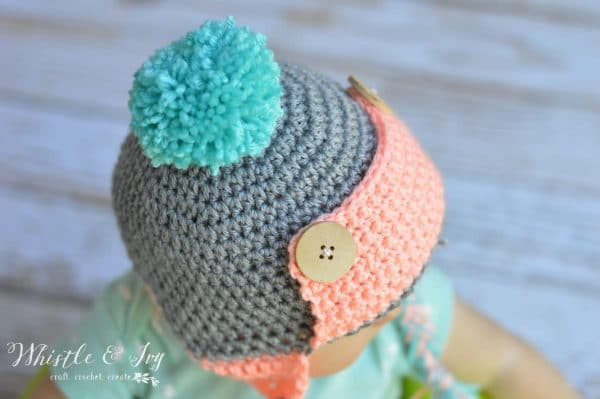 cute aviator crochet hat with buttons