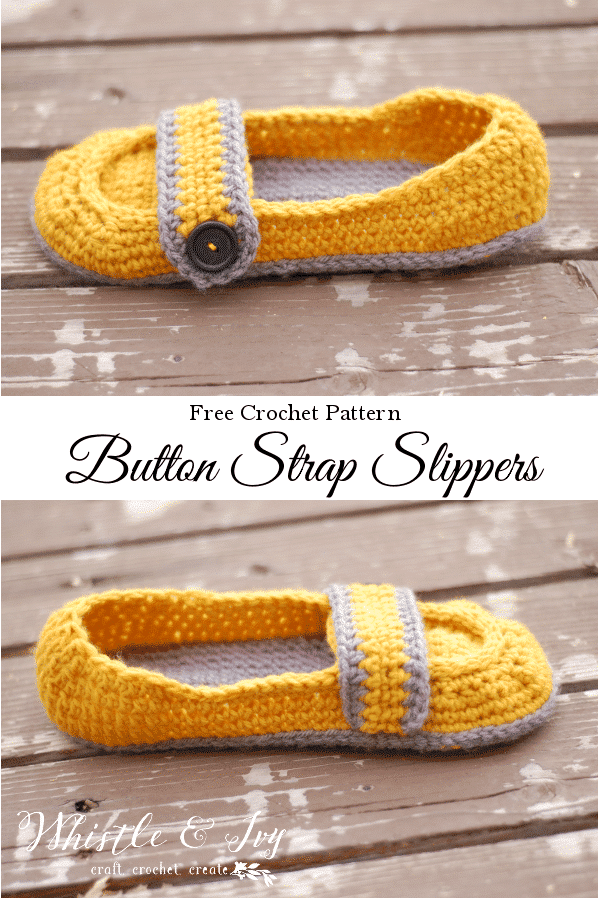 Free Crochet Pattern - Women's Button Strap Slippers. These cozy women's slippers are so cute and cozy. Perfect for yourself, or a gift for someone else!