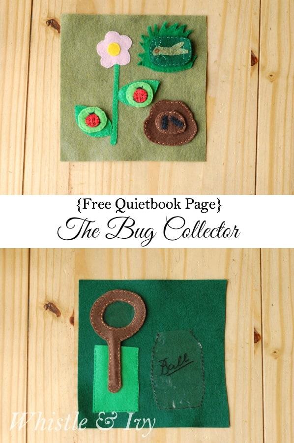 Free Quietbook Page - The Bug Collector. A fun quiet book page for toddlers and kids! Find all the bugs, inspect with magnifying glass and keep safe in the mason jar.
