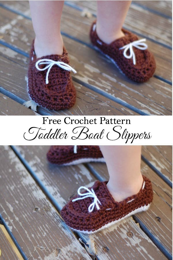 Free Crochet Pattern - Keep your little one's feet cozy with the free toddler boat slippers pattern