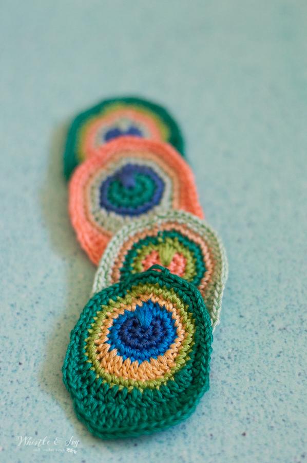 bright crochet peacock feather earrings crochet pattern