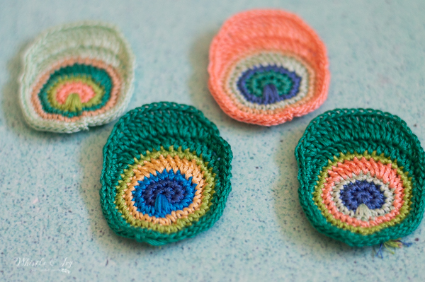 bright colored crochet peacock feathers crochet pattern