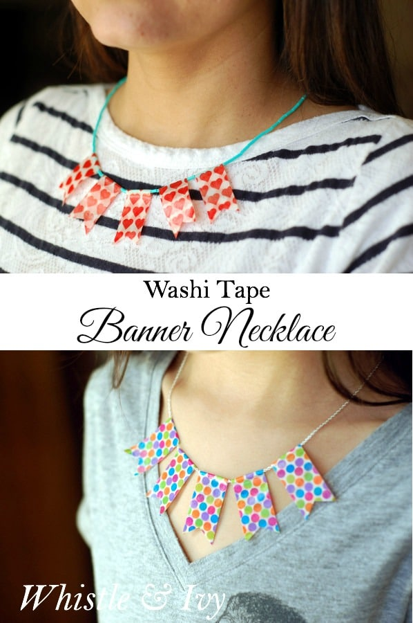 Make this adorable washi tape banner necklace in only a few minutes!