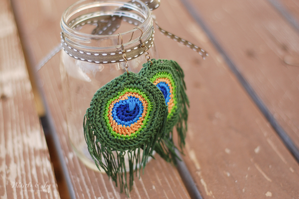 crochet peacock feather earrings crochet pattern