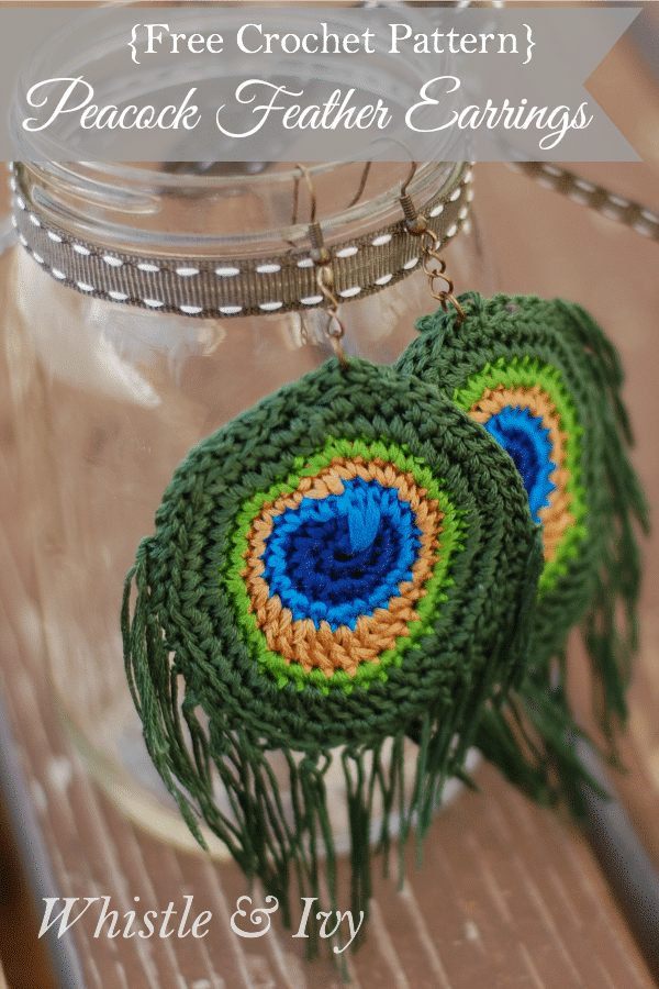 Make these beautiful crochet peacock feather earrings with embroidery thread!  {Free Crochet Pattern by Whistle and Ivy}