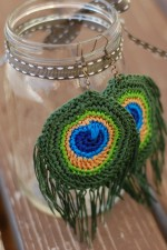 Crochet Peacock Feather Earrings