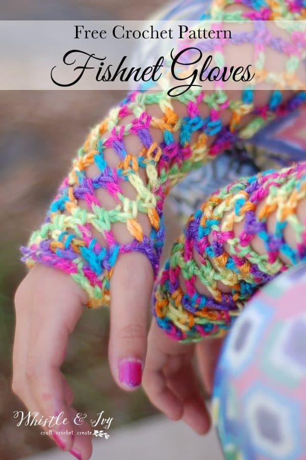 FREE Crochet Pattern: Crochet Fishnet Fingerless Gloves - Crochet these fun fishnet fingerless gloves with the fast diamond mesh stitch.
