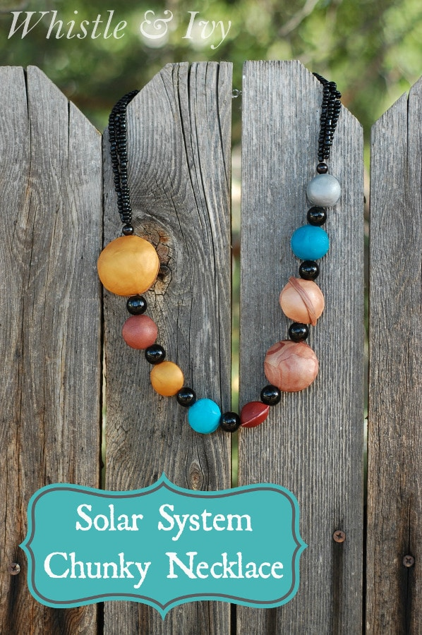 Make this perfectly nerdy solar system chunky necklace with a few tools and this easy tutorial! {Whistle and Ivy}