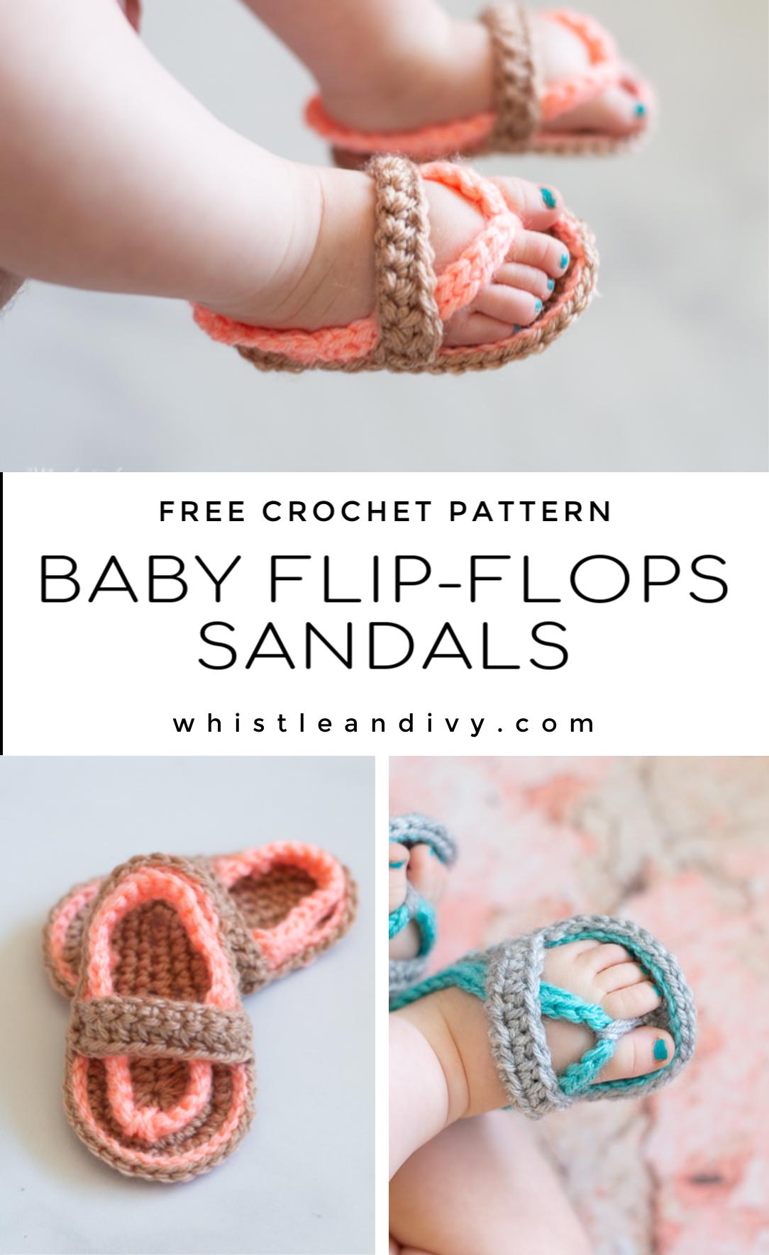 Crochet Baby Flip Flops Sandals - Free