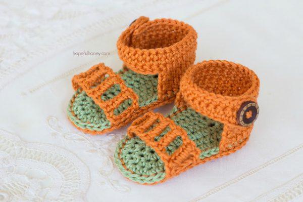 Honeysuckle Baby Sandals Free Crochet Pattern 3