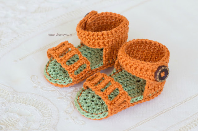 Honeysuckle Baby Sandals Free Crochet Pattern 3 - Whistle and Ivy