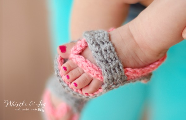 baby feet wearing crochet flip flop sandals