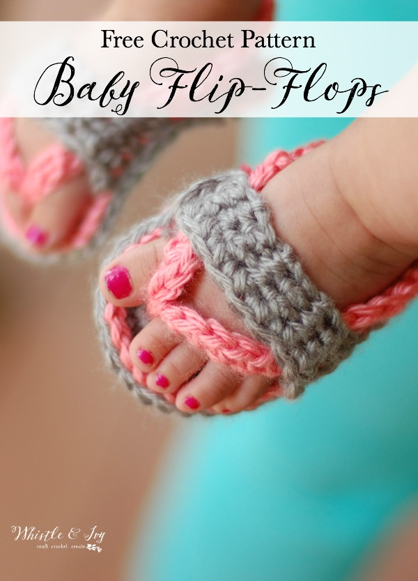 crochet baby feet wearing pink and gray flip flops