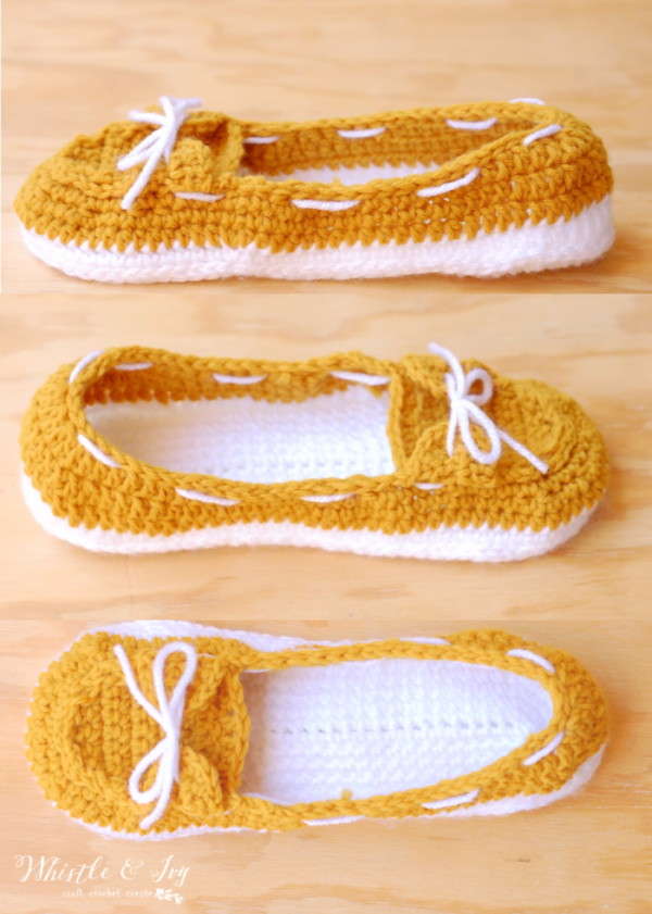 6330d0f7377b7 Women's Crochet Boat Slippers - Free Crochet Pattern - Whistle and Ivy