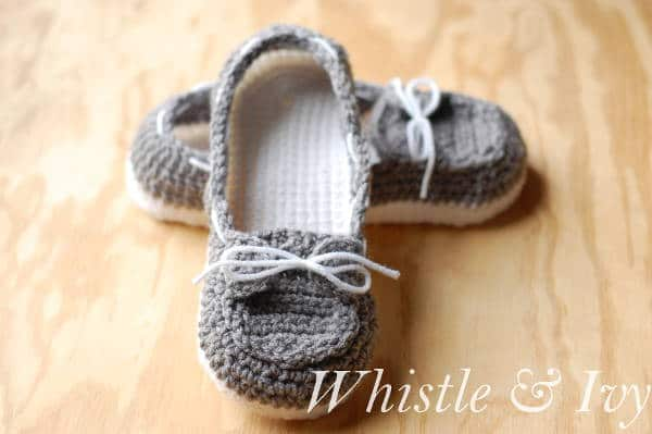 Free Crochet Pattern For Baby Boat Shoes : Women s Crochet Boat Slippers - Whistle and Ivy
