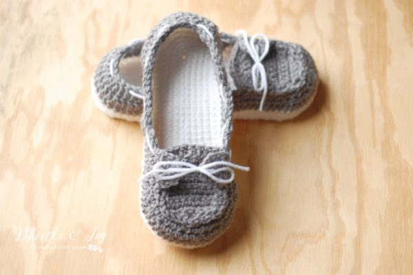 gray and white crochet boat shoes slippers crochet sperrys