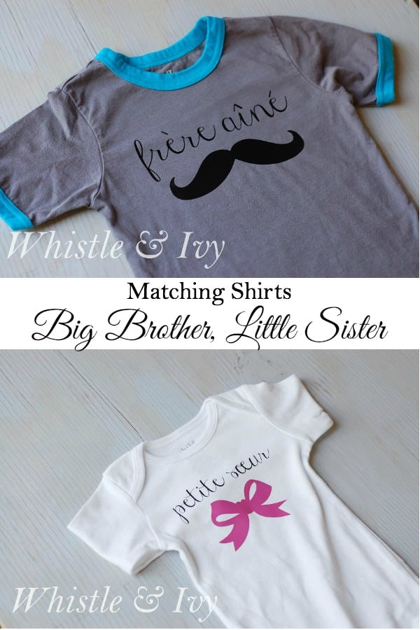 Make these adorable matching Big Brother/Little Sister shirts with this easy Heat Transfer Vinyl tutorial