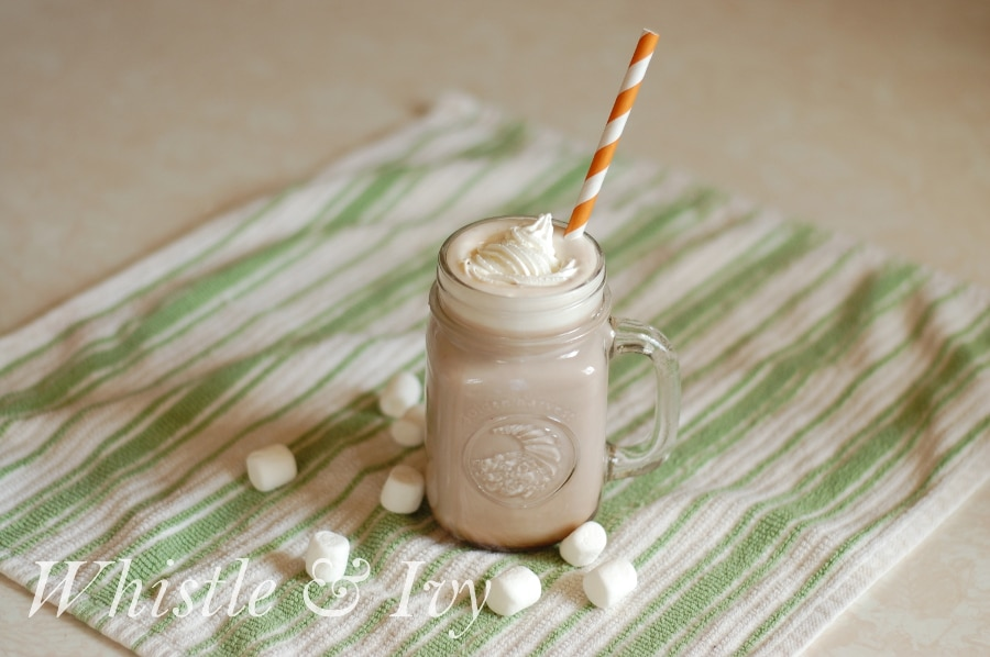 This delicious and creamy hot cocoa has a hint of orange and is perfect for chilly days. Get the recipe! {Whistle and Ivy}