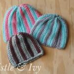 Crochet Vertical Stripe Baby Beanie