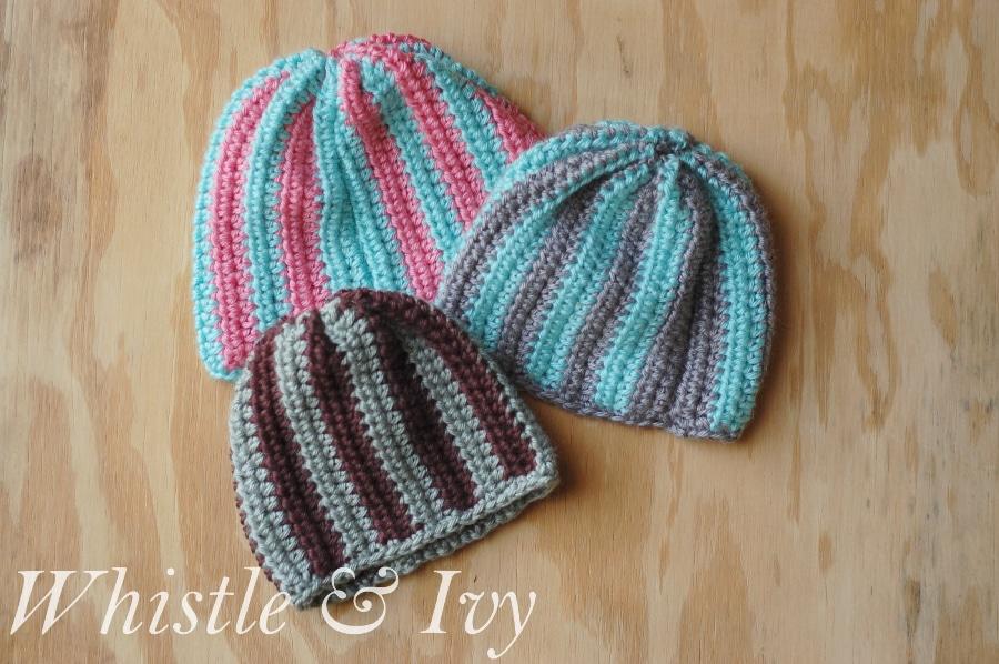 Vertical Striped Baby Beanie Crochet Pattern - One Artsy Mama