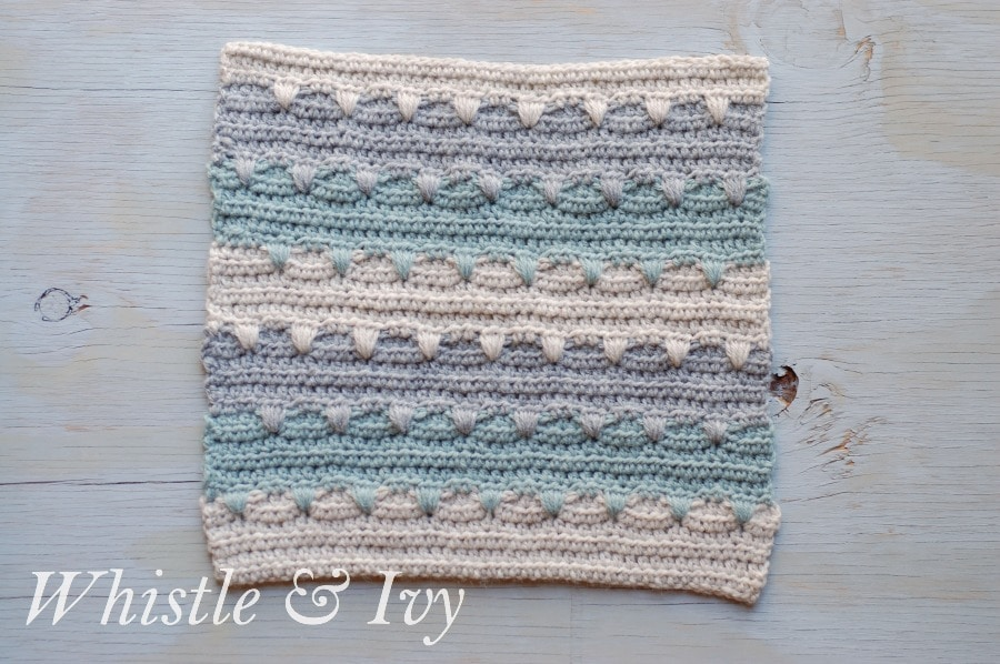 Aztec Stripe Afghan Square - Free crochet pattern for this cute and soft striped afghan square {Pattern by Whistle and Ivy}