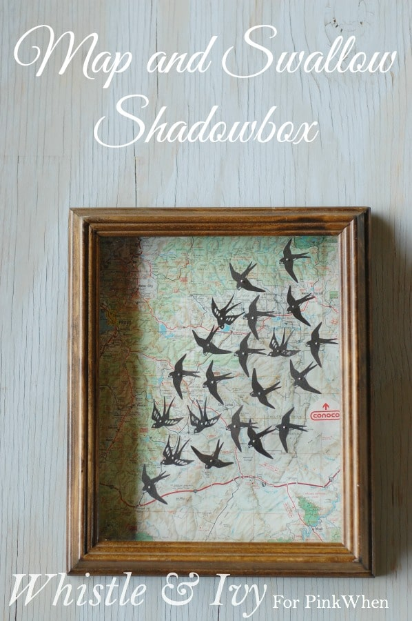 Map and Swallow Shadowbox - Transform an old map and thrifted shadowbox into a beautiful piece of decor {Tutorial by Whistle and Ivy}