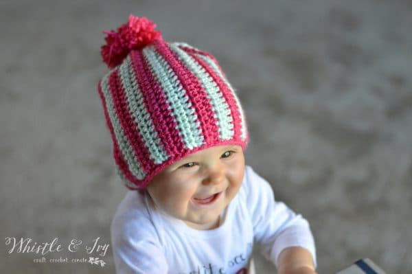 Free Crochet Pattern - Vertical Stripe Baby Hat | Super cozy slouchy hat for baby!