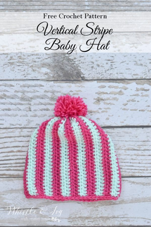 Crochet Vertical Stripe Baby Beanie Whistle And Ivy