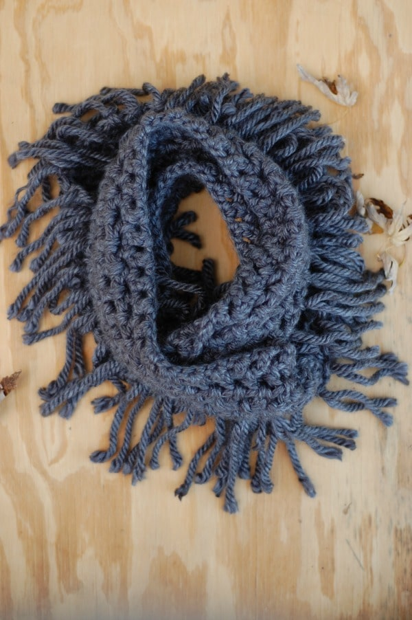 Chunky Fringe Infinity Scarf Crochet Pattern Whistle And Ivy