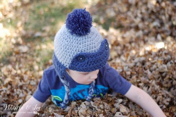 Toddler Trapper Hat - Made with two strands, this hat works up quick and is thick and cozy. {Crochet Pattern by Whistle and Ivy}