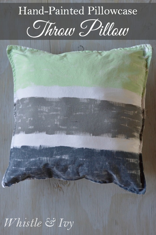 Hand painted Throw Pillow- Bring custom color to your rooms with these hand-painted throw pillows. Easy to make and easy on your budget!