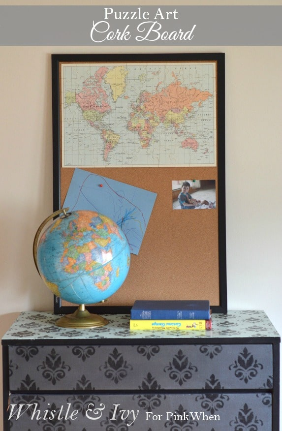 Puzzle Art Cork Board - Turn your puzzle into a functional piece of wall art with this puzzle cork board tutorial.