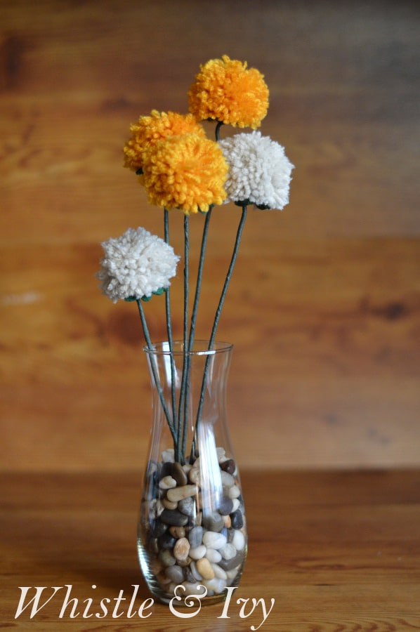 Bring springtime and color into your home with these easy pom-pom flowers!