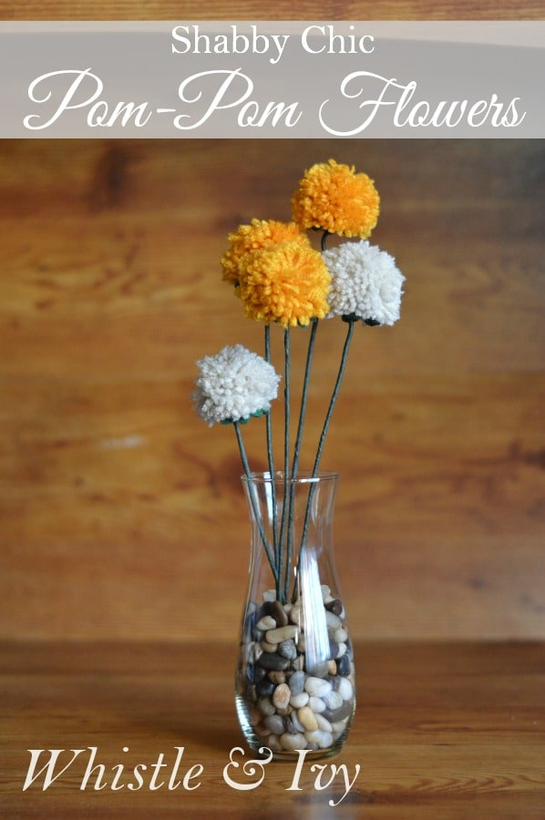 Bring a pop of springtime color with these adorable shabby-chic pom-pom flowers in just a few minutes; perfect weekend project