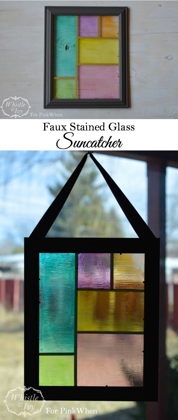 Faux Stained Glass Suncatcher- Bring the springtime sunshine in your home with this easy suncatcher tutorial.