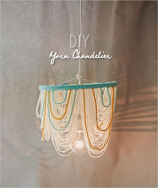 Yarn scraps idea yarn chandelier boho style