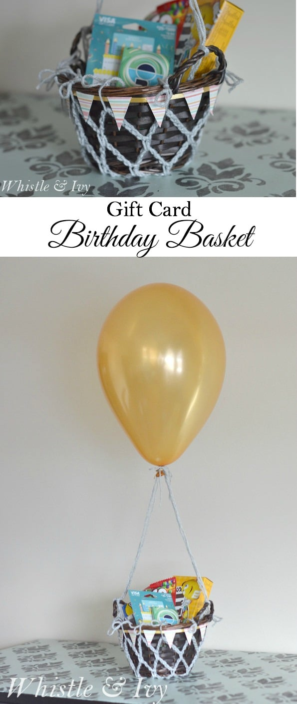 Make your gift card birthday gift a little more fabulous with this gift card basket!