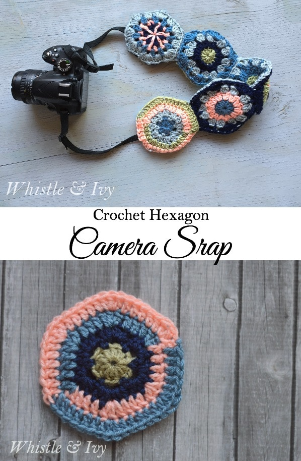 Use crochet hexagons to make this comfortable hexagon camera strap | Whistle and Ivy