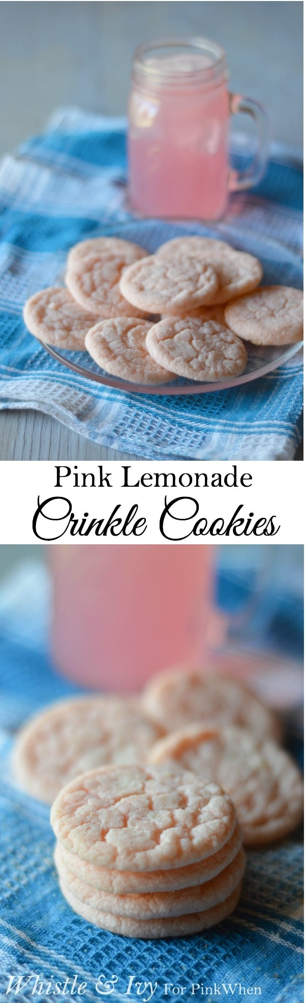 Pink Lemonade Crinkle Cookies - Perfect warm weather and backyard barbecue treat!
