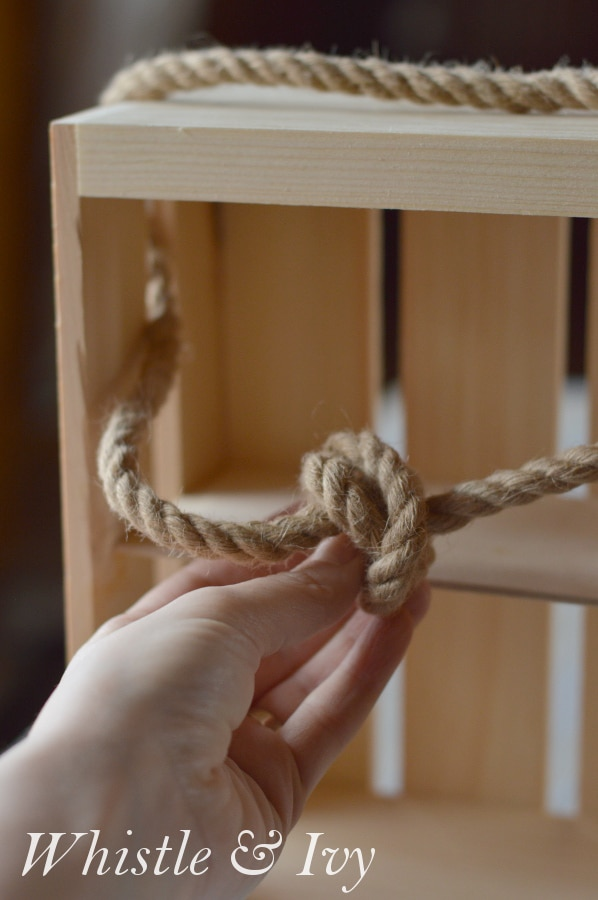Rope and Crate Shelf - Make this quick and easy shelf from a wooden crate!