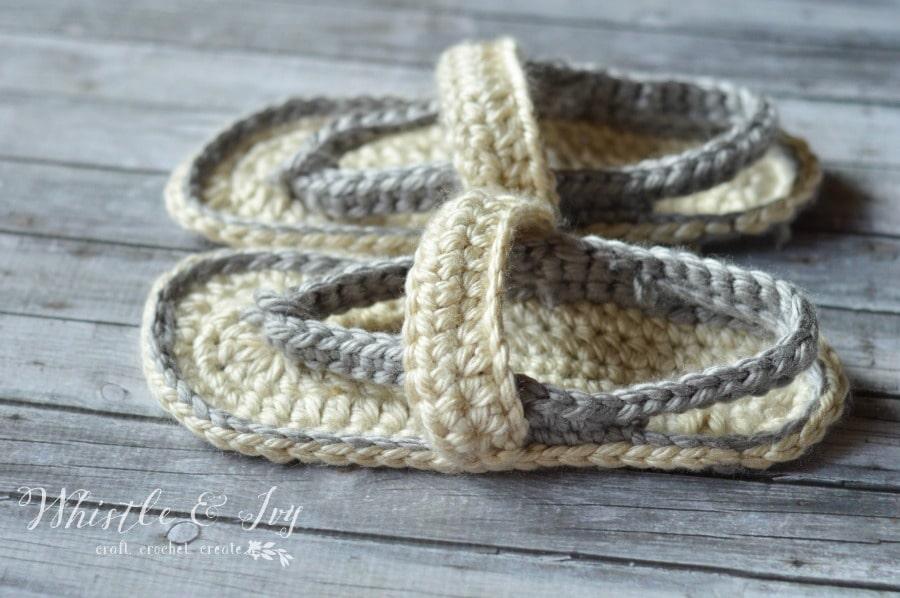Free Crochet Pattern - Women's Strap Flip-Flops | Whistle & Ivy