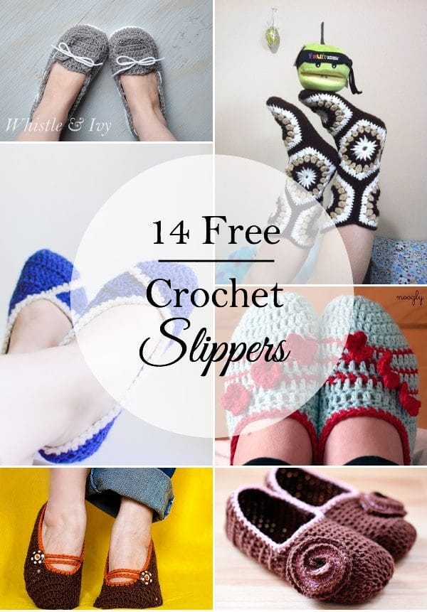 14 Free Crochet Slipper Patterns - Whistle and Ivy